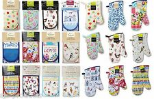 NEW COOKSMART DOUBLE OVEN GLOVES MITT 100% COTTON FLORAL NOVELTY KITCHEN COOKING