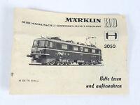 Original MÄRKLIN 3050 Anleitung E-Lok BR Ae 6/6 SBB 0170 1970 Handbuch H0 manual