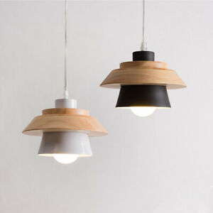 Modern Wood Pendant Light White Black Metal Bar Kitchen Ceiling Lamp Lighting