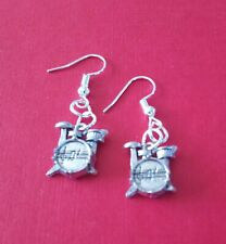 HANDCRAFTED EARRINGS - DRUMS - SILVER PLATED - MUSIC - INSTRUMENT - BASS