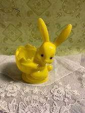 """Old Plastic Yellow Easter Bunny 4"""" Rabbit Holding Easter Egg Candy Container"""