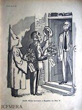 1961 KKK, Salazar & Verwoerd Punch Cartoon Print: Sth Africa becomes a Republic