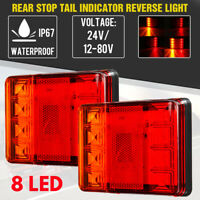 12-80V 8 LED Indicator Light Tail Rear Stop Lam Trailer Truck Lorry Caravan Van