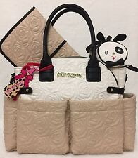 $158 BETSEY JOHNSON Large Baby Diaper Bag SAND WHITE Weekender Travel Carry On