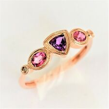NATURAL AMETHYST TOURMALINE DIAMOND RING 9K 375 WHITE GOLD SIZE N GIFT BOXED