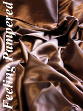 Luxury 100% silk charmeuse sheet Queen size Chocolate Brown Top flat Seamless