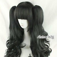 Black Curly Style Anime Long Cosplay Hair Wig With Two Ponytails With Bang