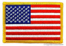 AMERICAN FLAG iron-on BIKER PATCH USA embroidered US PATRIOTIC GOLD BORDER RIGHT