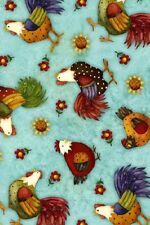 Fat trimestre folk art style poulets Farmville quilting Tissu coton 50 x 55 cm
