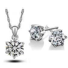Bridal Jewellery Set Diamond White Small Zircon Stud Earrings & Necklace S537