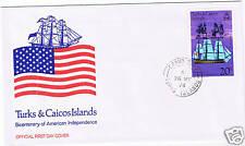 Turks & Caicos #312 1976 20 cent AMERICAN BICENTENNIAL Unused CFDC