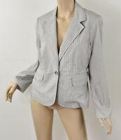 CABI Gray & White Striped Lightweight Cotton SHIRTING BLAZER Summer Jacket M 10