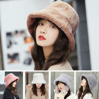 Women Winter Fluffy Plush Bucket Hat Ladies Warm Faux Fur Fisherman Cap Hat