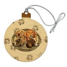 Hunting Dogs Oval Wood Christmas Tree Holiday Ornament