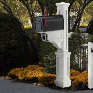 Mailbox Post Polyethylene Vinyl Fade Resistant White with Newspaper Holders