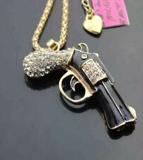 Betsey Johnson Necklace Black Enamel Gun / Pistol Sparkles Crytals