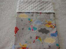 Pooh & Friends Grey Cotton Front White Minky Bassinet/Crib Blanket Handmade