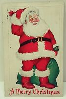 Jolly SANTA CLAUS Christmas Postcard Embossed Classic Red Suit