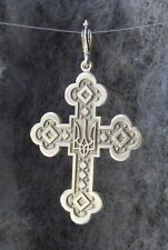 Sterling Silver 925 Cross with Ukrainian Trident Тризуб Pendant, Charm, 2""