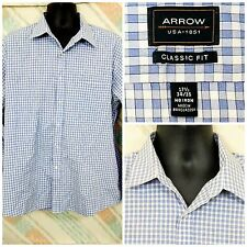 "Arrow 17.5"" 34/35 Cotton Blend LS Blue White Checks No Iron      K13"