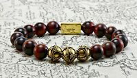 Mens Red Tigers Eye & Gold Bead Bracelet-Classic Beaded Bracelet-man Bracelet