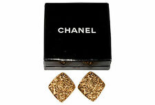 CHANEL Made in France 1980s Earrings CC Logo w/ Box Diamond Shaped Vintage
