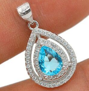 2CT Aquamarine & Topaz 925 Solid Sterling Silver Pendant Jewelry