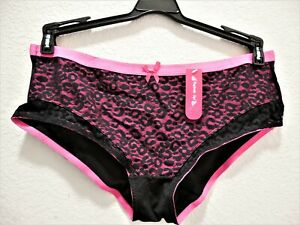Womens Clothes Plus Size 1X/8 Pink Sexy Leopard Lace Panties NWT $14 Pucker Up