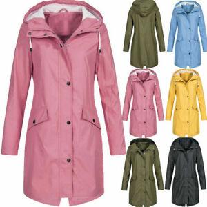 Womens Waterproof Raincoat Ladies Outdoor Wind Rain Forest Jacket Coat Plus Size