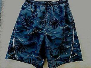 LAGUNA MENS LG SWIM TRUNK SHORTS BLUE PARADISE HAWAIIAN PRINT 2 POCKET (C7006)