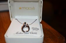 Mother and Child Pendant Necklace With Diamond in Sterling Silver 18