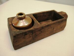 Antique Wooden Inkwell Desk Box Pen Holder Writing BOX Kalamdan Ceramic Ink pot
