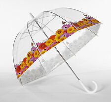 Frankford Elite Rain Spring Flowers Butterfly Trim Clear Dome Bubble Umbrella