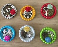 Alice In Wonderland Charmed Flat Bottle Cap Fridge Magnets Set Of 6 Magnets