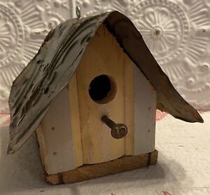 NEW BIRD HOUSE Rustic Weathered Base Board Wood Antique Ceiling Tin USA HANDMADE
