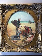 R. Wilson Large Original Oil Painting on Vinyl w/Beautiful Wooden Frame, Signed