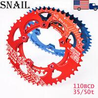 SNAIL 110BCD 35/50T Aluminum alloy CNC MTB Bike Double Oval Chainring Crank set