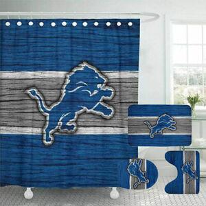 Detroit Lions 4PCS Bathroom Rugs Set Shower Curtain An-Skid Toilet Seat Cover