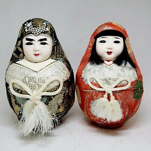 """Vintage Japanese GoFun Face Wedding Doll Pair Set in Kimono 7.5"""", Red and Gray"""