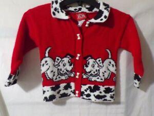 Disney 101 Dalmatians Vintage Girls Kids Red Knit Cardigan Sweater Size 4 Rare