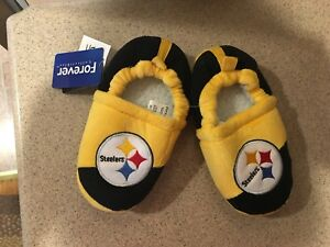 Pittsburgh Steelers NFL Boys Colorblock Slippers, Size XLarge (13/1) NWT