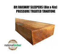 """(Pack of 10) Sleepers 8ft x 8""""x4"""" Pressure Treated (195mm x 2400mm x 95mm)"""
