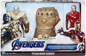 Titan Hero Series Thanos, Iron Man & Infinity Gauntlet Action Figure Set