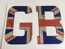 GB LETTERS GREAT BRITAIN UK DOMED RESIN CAR BADGES BOOT MOTORHOME PLATE CHROME