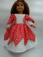 "Red & White Heart Party Dress fits American Girl 18"" doll clothes"
