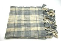 "Pottery Barn Black and Brown Checked Reversible Throw Fringe Blanket 58""x50"""