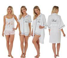 Ladies White BRIDE PJs Pyjamas Set Wrap Dressing Gown Size8 10 12 14 16 18 20 22