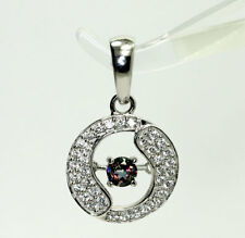 Sterling Silver Spinning Mystic Topaz & Cubic Zirconia Circle Pendant