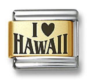 Italian Charm Bracelet Link Laser Words I Heart Hawaii 9 mm Gold Plated