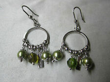 Ohrringe Ohrhänger in Silber 925 MORE & MORE mit Perle grün